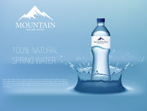 Photo Realistic Mineral water in plastic bottle advertising in editable vector format. 3d illustration Stock Images