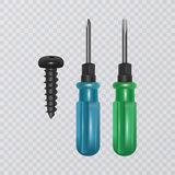 Photo-realistic screwdriver isolated on transparent background. Vector eps 10 illustration royalty free stock photos