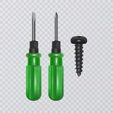 Photo-realistic screwdriver isolated on transparent background. Vector illustration stock photos