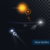 Photo realistic vector lens flares lights and glow isolated Stock Photo