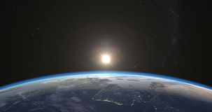 Photo-realistic zonsopgang over Aarde royalty-vrije illustratie