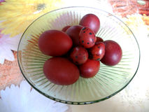 The photo red eggs. In bowl stock images