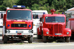 Photo of red firefighters trucks Royalty Free Stock Photo