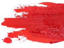 Photo red grunge brush strokes oil paint isolated on white Royalty Free Stock Images