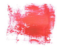 Photo red grunge brush strokes oil paint isolated on white Stock Image