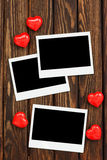 Photo and red hearts Royalty Free Stock Image