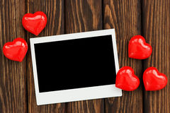 Photo and red hearts Royalty Free Stock Photography