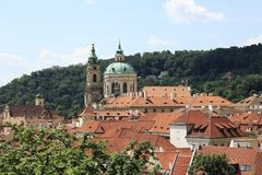 Prague, red roofs in old town stock photo