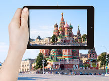 Photo of Red Square with Vasilevsky descent Royalty Free Stock Image