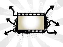 Photo reel art. Vector art of photo reel with arrow background stock illustration