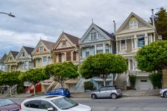 Beautiful Painted Ladies in Alamo Square, San Francisco royalty free stock photo