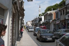 Photo reportage from Ulcinj of Montenegro Main street rr. hafiz ali ulqinaku royalty free stock photo