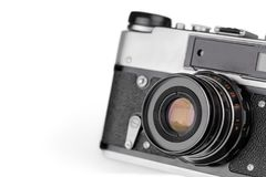 Retro photo camera on white stock photo