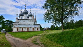 A photo of a river and a church in the background Russian Federation Royalty Free Stock Photography