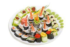 Photo of a rolled and sushi Stock Images