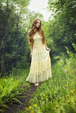 Photo of romantic woman in fairy forest. Beauty summertime Stock Photography