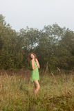 Photo of romantic woman in fairy forest. Royalty Free Stock Photo