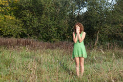 Photo of romantic woman in fairy forest. Royalty Free Stock Photos