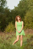 Photo of romantic woman in fairy forest. Stock Photography