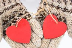 Photo romantique avec deux coeurs Photo stock
