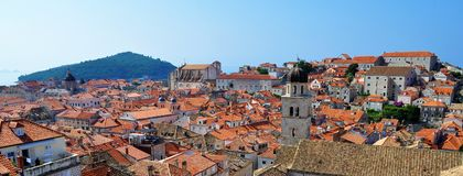 The churches and the roofs. Photo of the roofs of Dubrovnik city in the morning  - Croatia - July 2010 Stock Photo