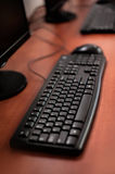 Photo of row computers in classroom or other educational institu Stock Photography