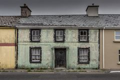 Photo of run down Irish cottage. stock photo
