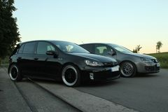 Photo`s of a Volkswagen Golf 5 and Volkswagen Golf 6 GTI Stock Images