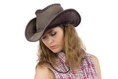 Photo of sad cowgirl Stock Photos