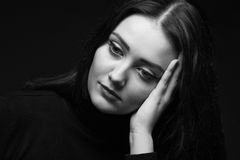 Photo of sad woman with leaned head Stock Images