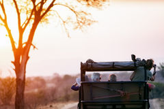 Photo Safari at Sunset in South Africa. KRUGER NATIONAL PARK, SOUTH AFRICA - November 6, 2016. Tourists taking photos on a safari drive through Kruger National Royalty Free Stock Photography