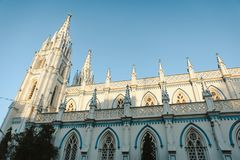 Saint Mary`s Catholic Cathedral church exterior architecture in Madurai. Photo of Saint Mary`s Catholic Cathedral church exterior architecture in Madurai Royalty Free Stock Photos
