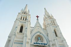 Saint Mary`s Catholic Cathedral church exterior architecture in Madurai. Photo of Saint Mary`s Catholic Cathedral church exterior architecture in Madurai Royalty Free Stock Photo