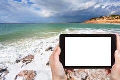 Photo of salt beach on Dead Sea coast, Jordan Royalty Free Stock Image