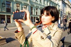 Photo of a Samsung Android smartphone. MOSCOW, RUSSIA - MARCH 15, 2015: Photo of a Samsung Android smartphone Stock Photo