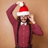 Photo of Santa Claus looking at camera. Hipster style. Stock Photos
