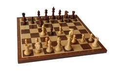 Chess opening. Scotch Gambit. Stock Image