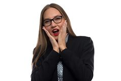 Photo screaming businesswoman with hands on face Royalty Free Stock Photography