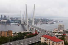 Photo of sea bay with buildings, bridge. In summer Stock Photo