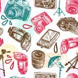 Photo seamless pattern. Photo camera digital technology studio equipment hand drawn seamless pattern vector illustration Royalty Free Stock Photo