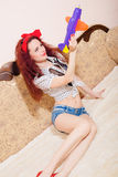 Photo of seductive  young funny redhead girl Royalty Free Stock Photography