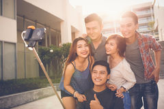 Photo with selfie stick Royalty Free Stock Images