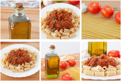 Photo sequence of preparing a delicious plate of pasta. With tomato Stock Images