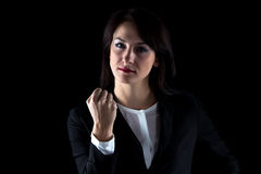 Photo of serious business woman showing fist Royalty Free Stock Image
