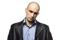 Photo of serious hairless man Stock Photo