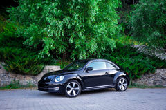 Photo session of fast coupe girls car. Cluj-Napoca, Romania - August 20, 2017:Front left view,driver angle of coupe sport car VW Beetle,icon german car,classic Stock Photography