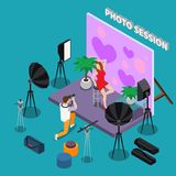 Photo Session Isometric Background. With young woman in red dress posing for photographer in studio vector illustration stock illustration