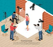 Photo Session Isometric Composition. Professional photo art studio interior equipment photographers work isometric composition with fashion model shooting royalty free illustration