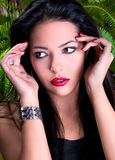 Photo-session of the young beautiful  brunette Stock Photos