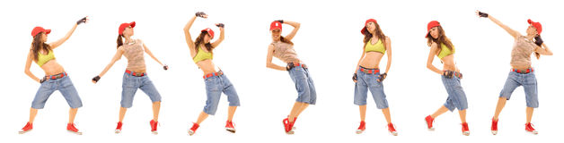Photo set of attractive hip hop girl Royalty Free Stock Photo